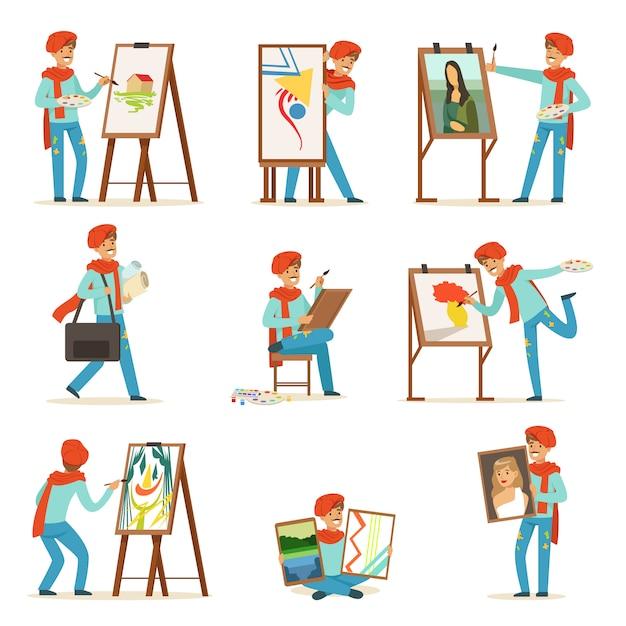 Счастливый улыбающийся художник, живопись на холсте набор. Premium векторы