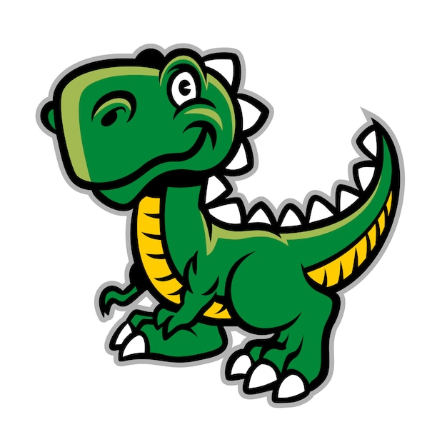 Happy smiling cartoon dinosaur character Vector | Premium ...