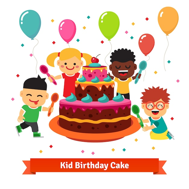 Happy smiling celebrating kids with birthday cake Vector Free Download