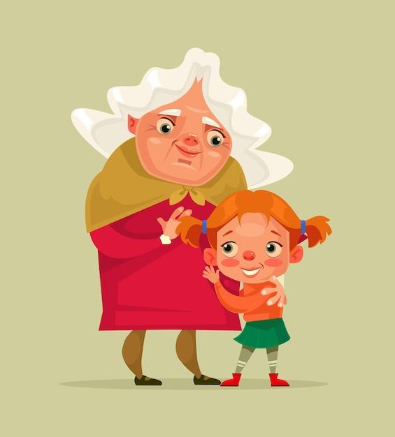 행복 미소 할머니와 손녀 캐릭터 일러스트 프리미엄 벡터