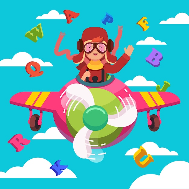 Happy smiling kid flying plane like a real pilot Free Vector