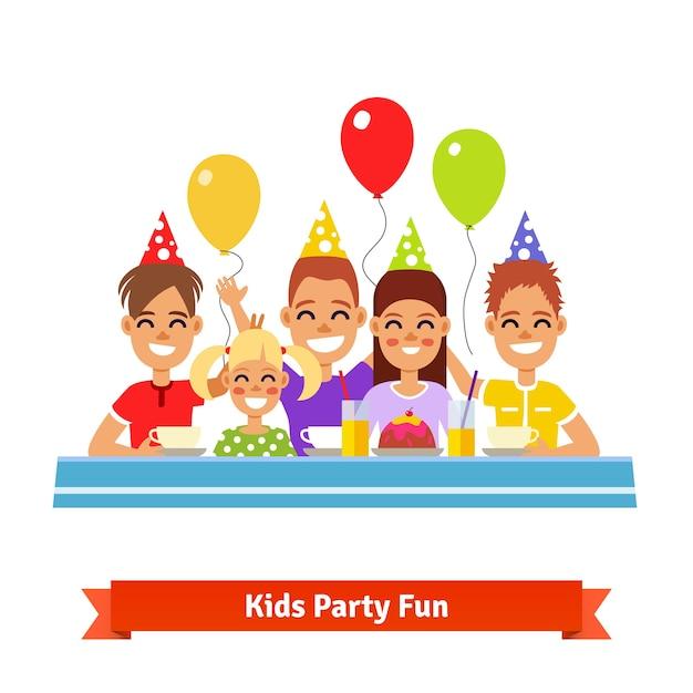Happy smiling kids having fun at birthday\ party
