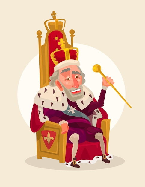 Happy smiling king man character sits on the throne cartoon illustration Premium Vector