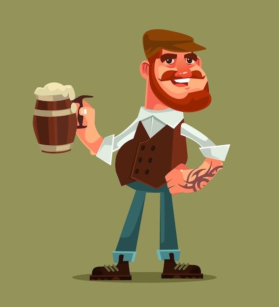 Счастливый улыбающийся человек персонаж держит кружку пива. Premium векторы