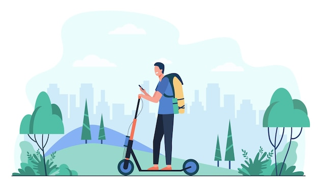 Happy smiling man riding kick scooter on sidewalk flat illustration. cartoon hipster using electric scooter Free Vector