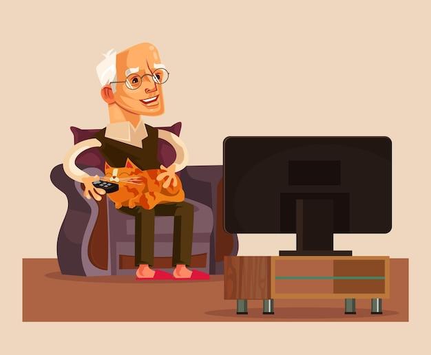 행복 하 게 웃는 노인 할아버지 Tv 쇼 시청 프리미엄 벡터