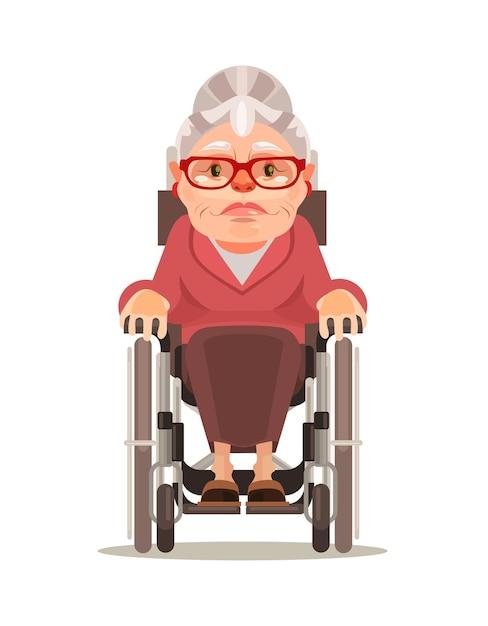 Счастливый улыбающийся персонаж старой женщины, сидящий в инвалидной коляске Premium векторы