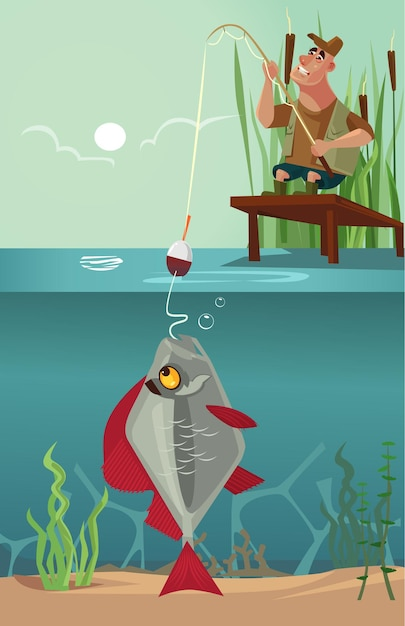 Happy smiling sitting fisherman character pull big huge enormous fish on fishing pole hook bite from lake. design Premium Vector