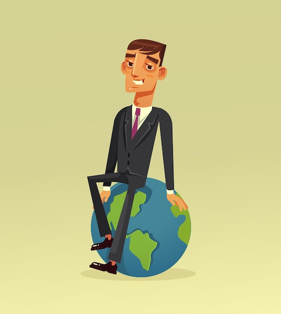 Happy smiling successful businessman office worker character sitting on planet earth Premium Vector