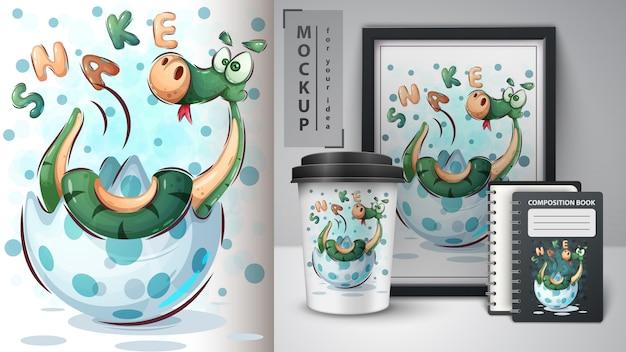 Happy snake poster and merchandising Premium Vector