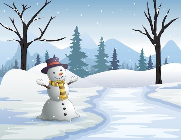 雪に覆われた森の凍った川のそばの幸せな雪だるま Premiumベクター