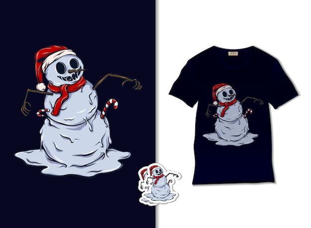 Tシャツのデザイン、手描きのクリスマスイラストで幸せな雪だるま Premiumベクター