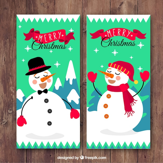 Happy snowmen mery christmas banners Vector | Free Download