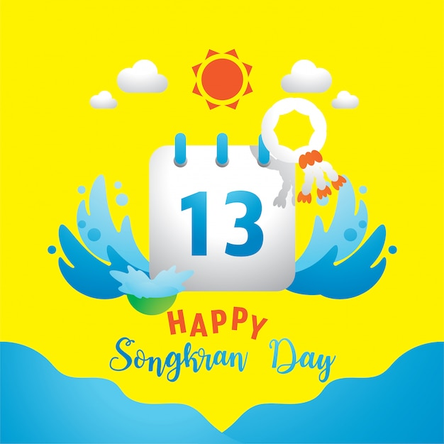 Happy songkran day with 13th on calendar Premium Vector