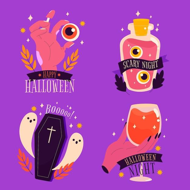 Счастливая жуткая коллекция этикеток на хэллоуин Бесплатные векторы