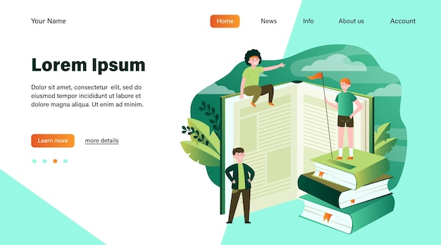 Happy sporty readers among books. student standing on stack of books, getting knowledge, studying  flat vector illustration. library, education concept website design or landing web page Free Vector