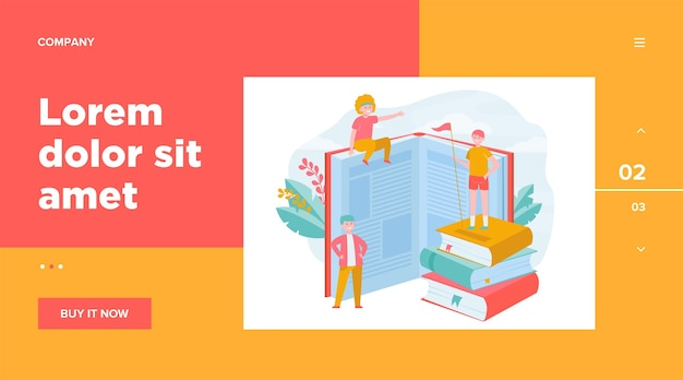 Happy sporty readers among books. student standing on stack of books, getting knowledge, studying  web template Free Vector