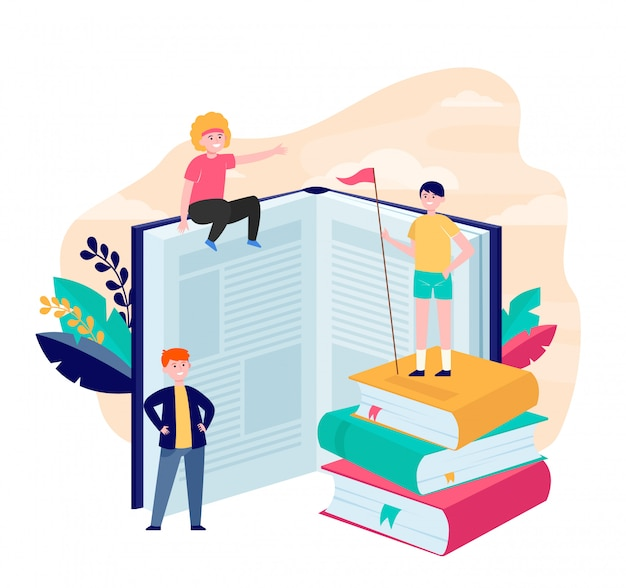 Happy sporty readers among books Free Vector