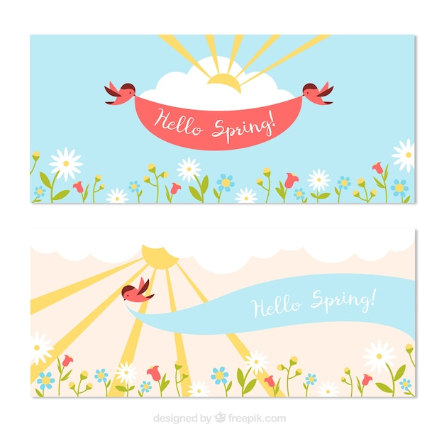 Happy spring banners with cute birds and flowers Vector ...