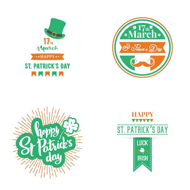 Happy st. patrick day set. Premium Vector