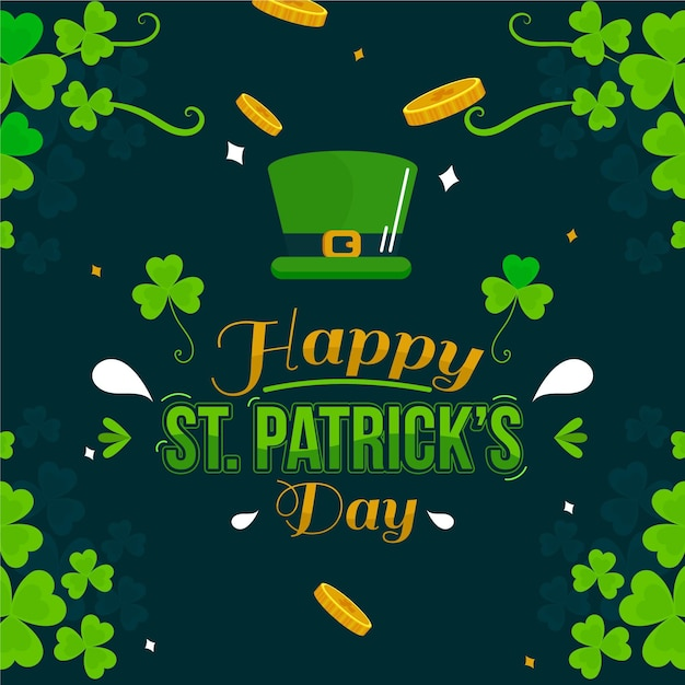 Happy st. patrick's day illustration with hat and shamrock Free Vector