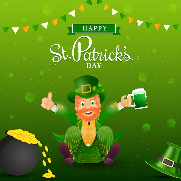 Happy st. patrick's day poster design with cheerful leprechaun character holding beer mug and coins pot on green shamrock Premium Vector