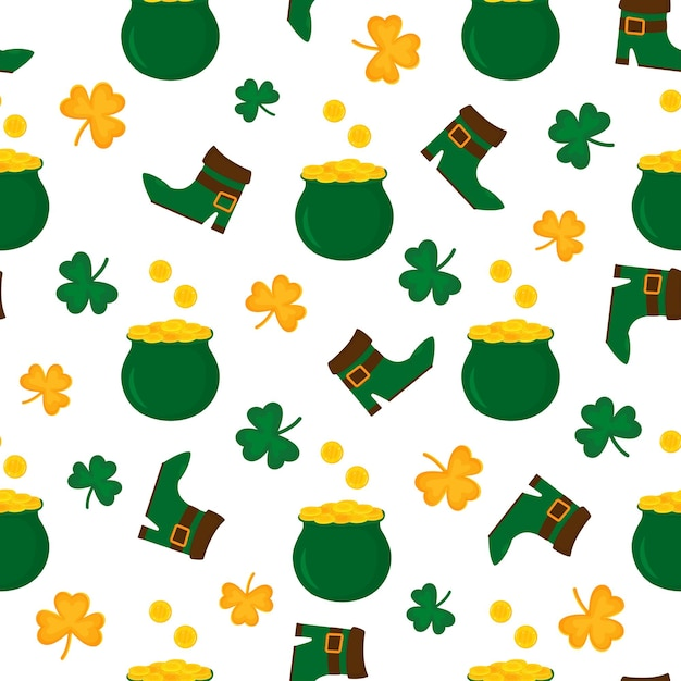 Happy st.patrick s day seamless pattern illustration Premium Vector