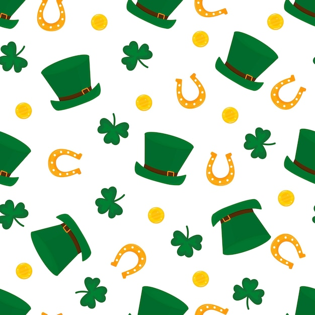 Happy st.patrick s day seamless pattern. Premium Vector