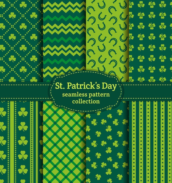 Happy st. patrick's day! set of holiday backgrounds. collection of seamless patterns in traditional colors saint patrick's day seamless pattern. Premium Vector