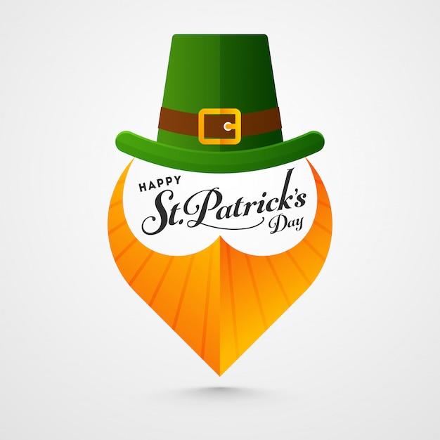 Happy st. patricks day card with leprechaun hat and orange paper beard on white Premium Vector