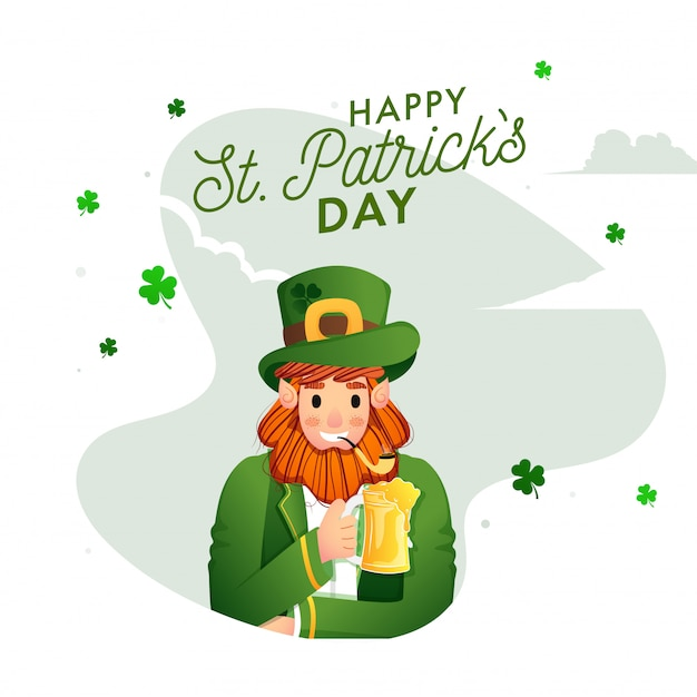 Happy st. patricks day card with  leprechaun man celebrating with drink, smoking pipe and shamrock leaves decorated Premium Vector