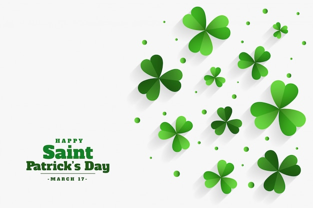 Happy st patricks day clover green leaves background Free Vector