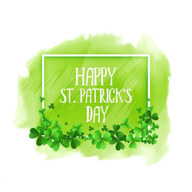 Happy st patricks day green watercolor background Free Vector