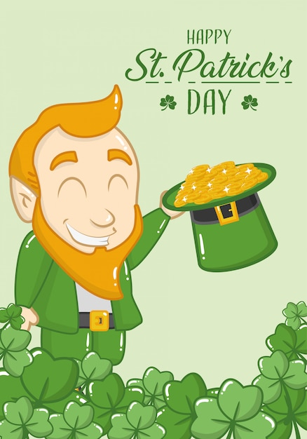 Happy st patricks day greeting card, leprechaun with coins in his hat Free Vector