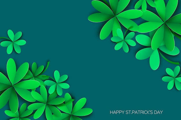 Happy st. patricks day greetings card. four and three leaf clover in paper cut style. Premium Vector