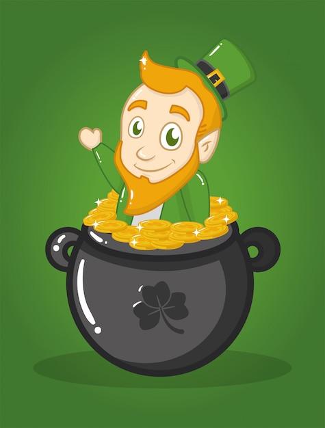 Happy st patricks day, irish goblin in a cauldron Free Vector