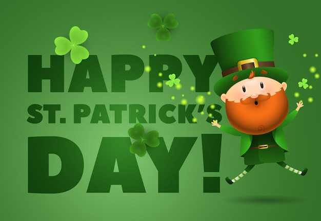Happy st patricks day lettering with leprechaun jumping Free Vector