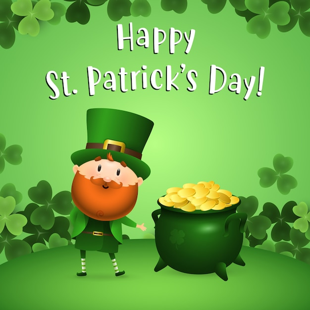 Happy st patricks day lettering with leprechaun and pot of gold Free Vector