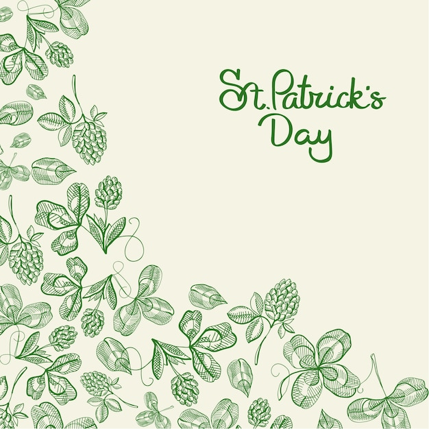 Happy st patricks day natural poster with inscription and hand drawn green irish clover vector illustration Free Vector
