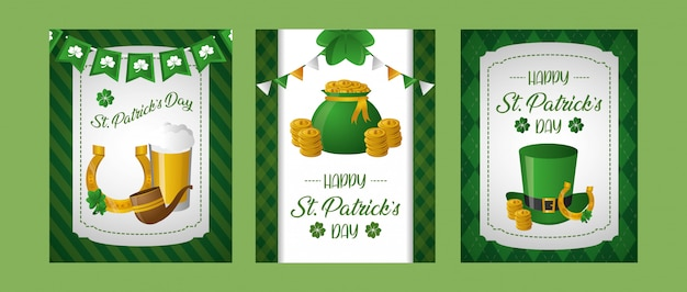 Happy st patricks day posters with related elements Free Vector