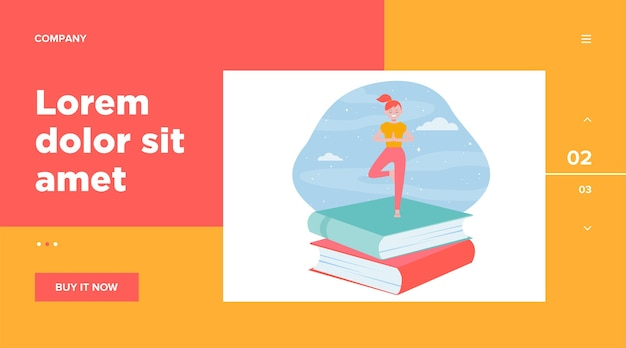 Happy student girl doing yoga. stack of books, night sky, tree pose web template Free Vector
