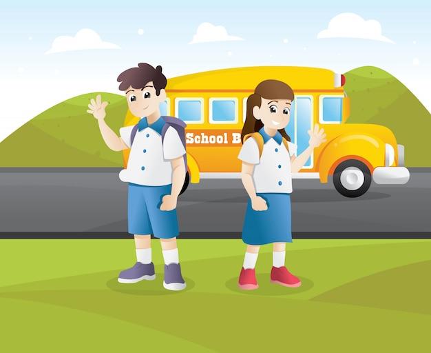 Happy student go to school Premium Vector