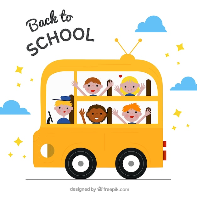 Happy students and driver in the school bus