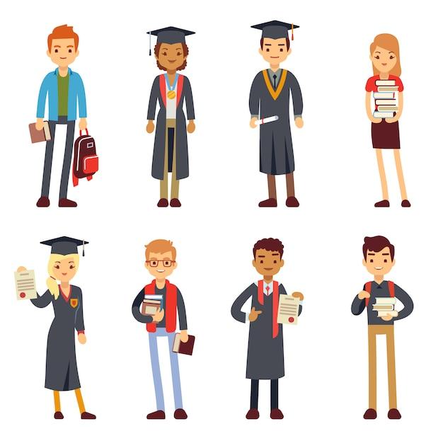 Happy students and graduates Premium Vector