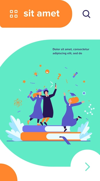 Happy students graduating with academic diploma flat vector illustration Free Vector