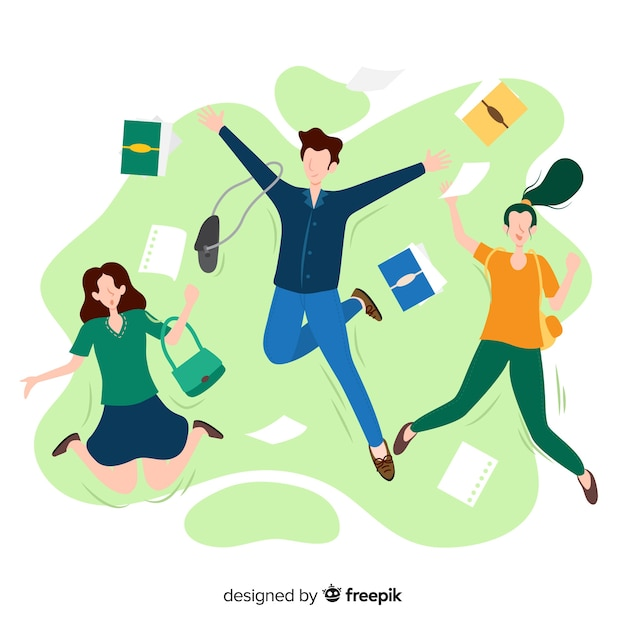 Happy students jumping with flat design Free Vector