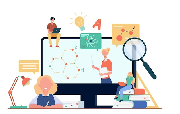 Happy students or pupils watching study webinar isolated flat illustration Free Vector