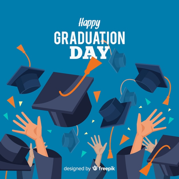 Happy students with flat design celebrating graduation Free Vector