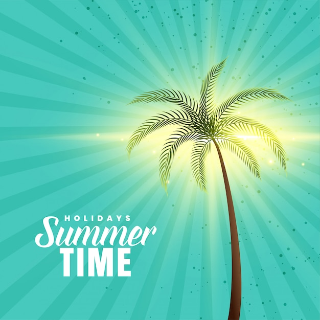 Happy summer background with palm tree Free Vector