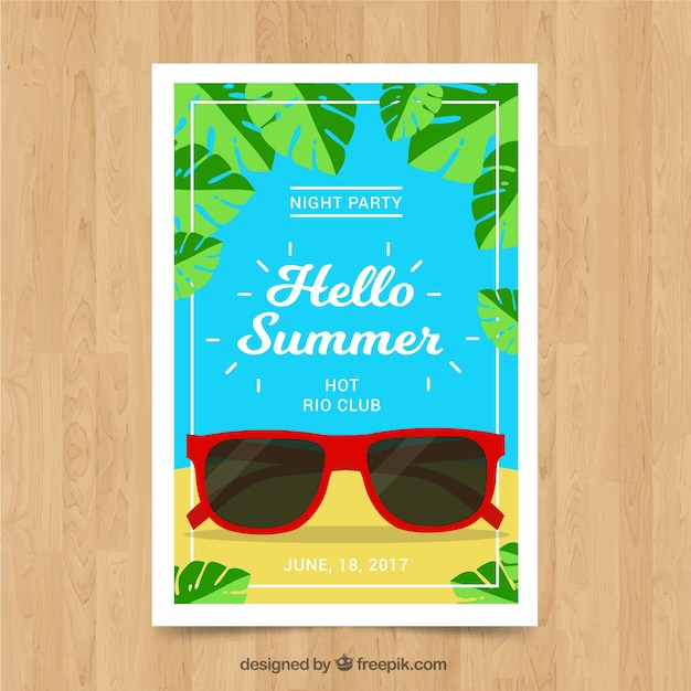 Happy Summer Card With Sunglasses Vector